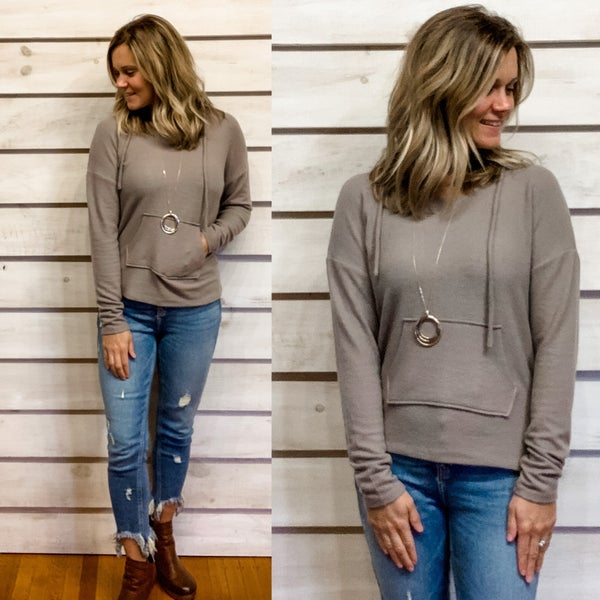 Taupe Cozy Hooded Top *Final Sale*