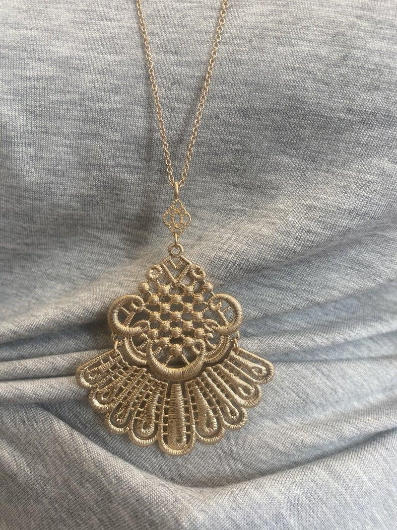 Gold boho necklace