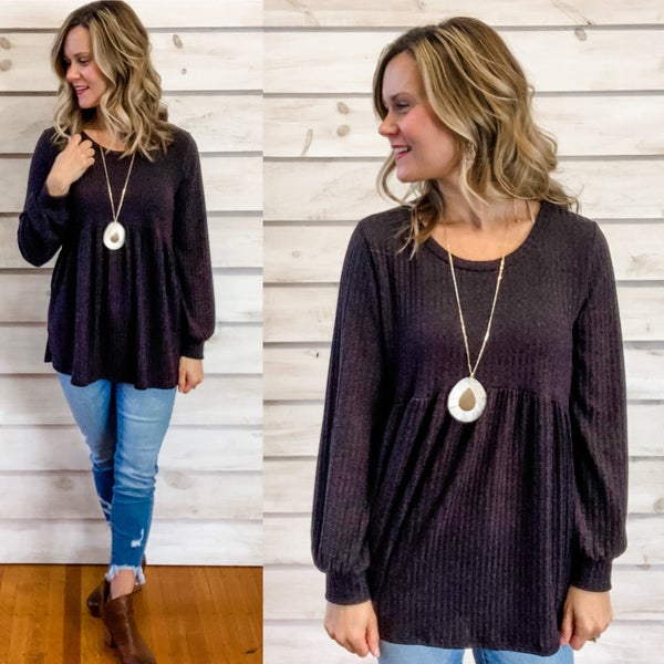 Black Textured Baby Doll Top