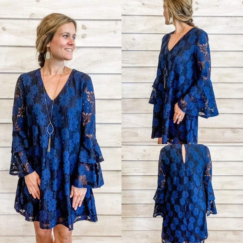 Navy and Black Bell Sleeve Lace Dress