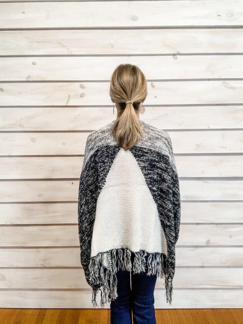 Black and White Fringe Kimono