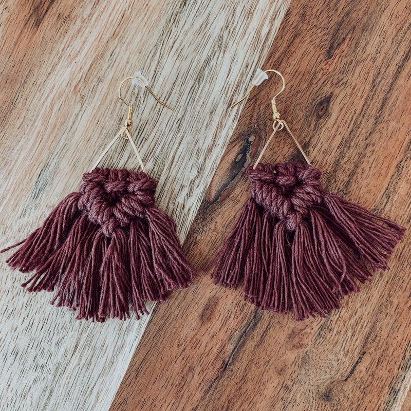 Burgundy Macrame Boho Earrings