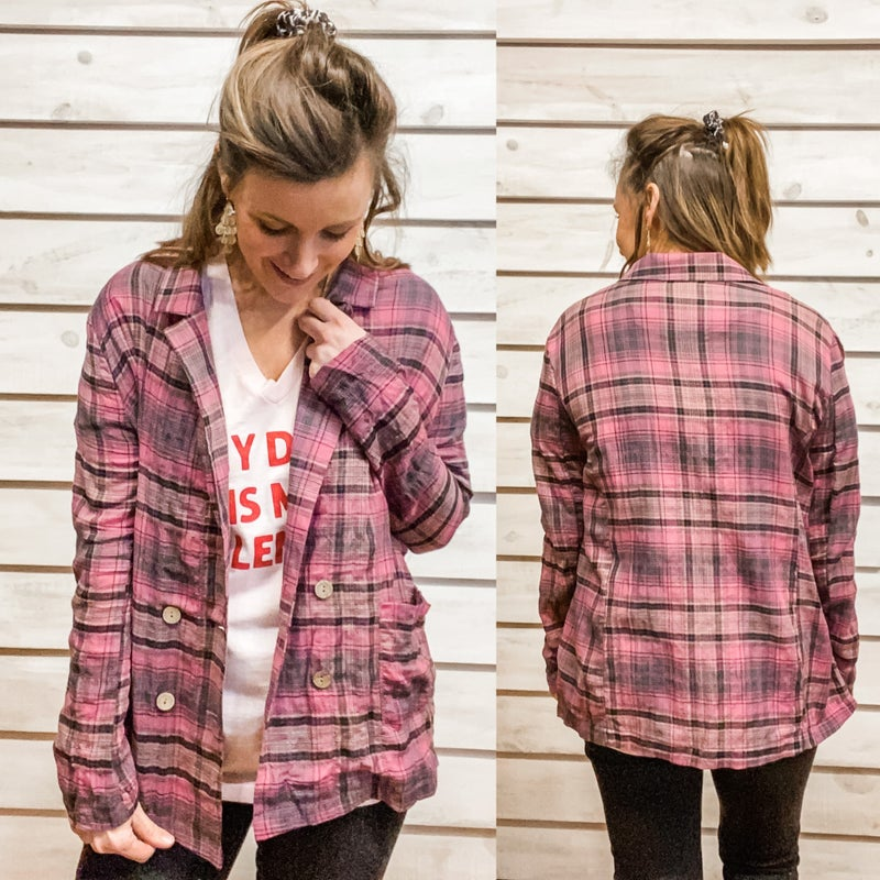 Pink Plaid Oversized Jacket with Four Buttons