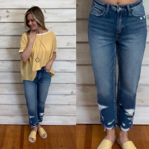 High Rise Distressed Denim Jeans