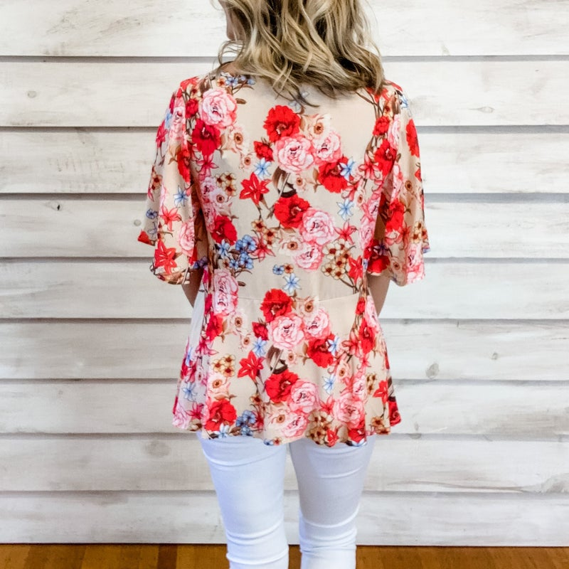 Beige Floral Top with Front Tie
