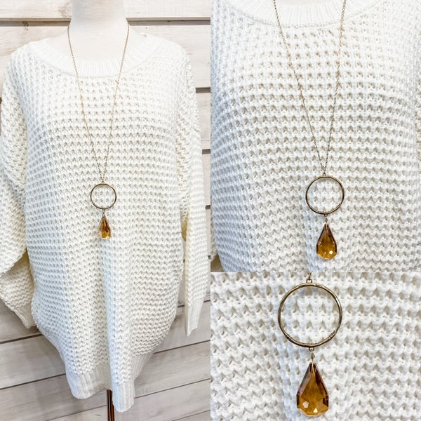 Amber Shimmering Glass Sone Necklace