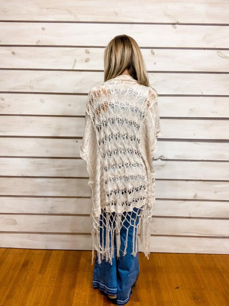 Cream Crochet Fringe Kimono