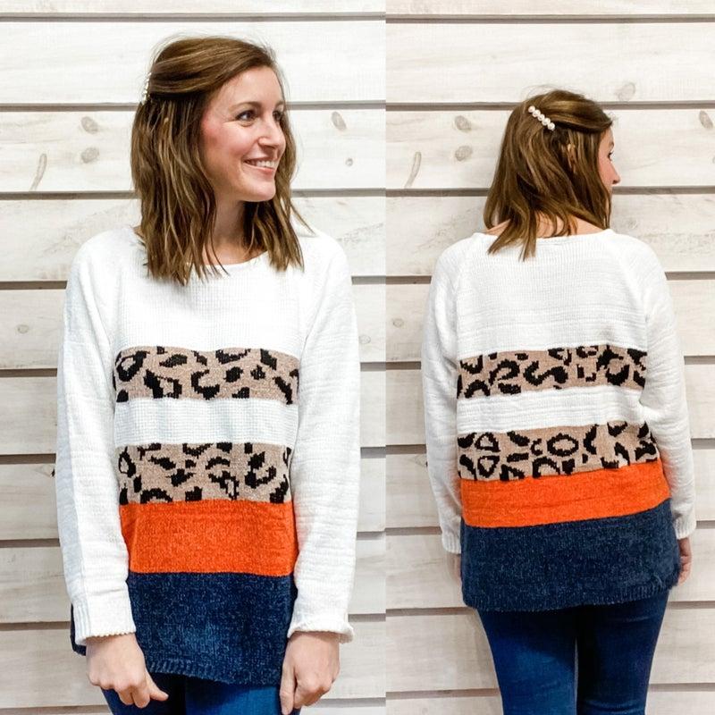 White Colorblock Leopard Print Sweater