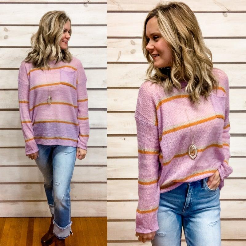 Purple Stripe Lightweight Sweater