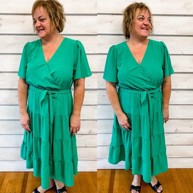 Green Belted Midi Dress
