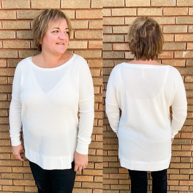 White Waffle Knit Tunic *Final Sale*