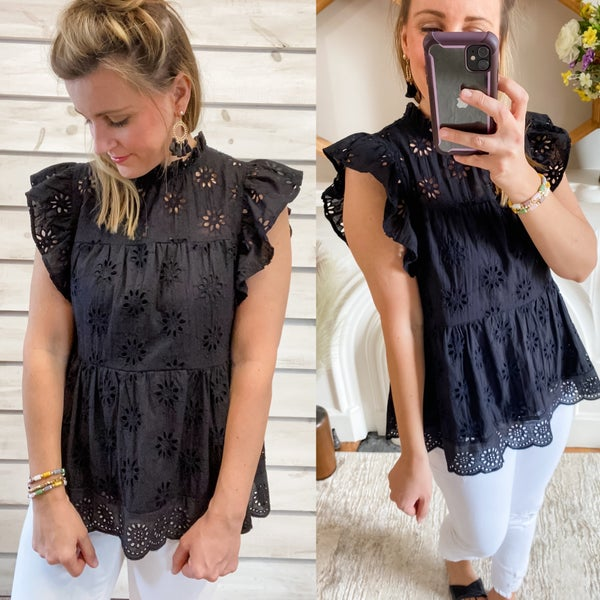 Black Eyelet Top with Flutter Sleeves