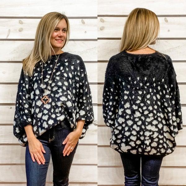 Super Cozy Black Print Sweater