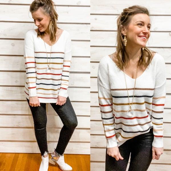 Ivory Multi Color Stripe Sweater