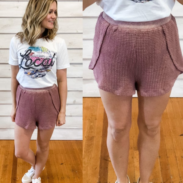 Maroon Waffle Textured Shorts