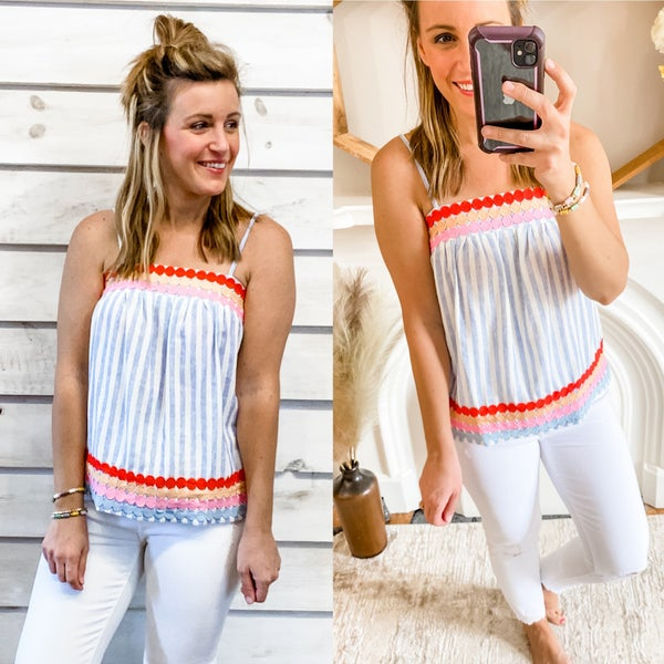Blue Striped Tank with Embroidery