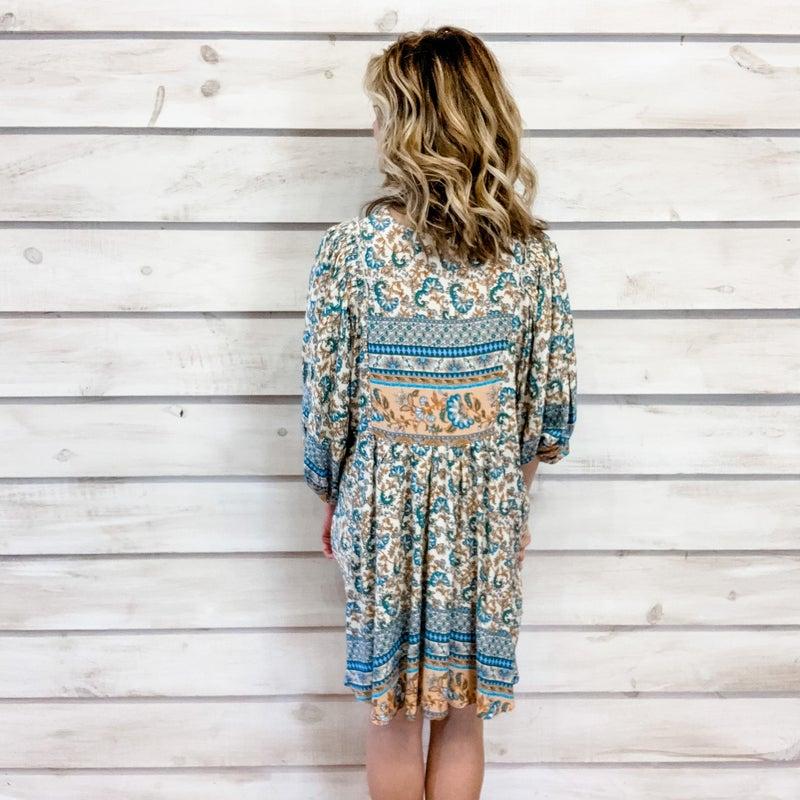 Cream Boho Print Tunic Dress