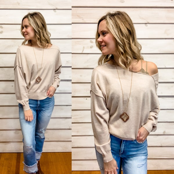 Taupe Slouchy Sweater Top