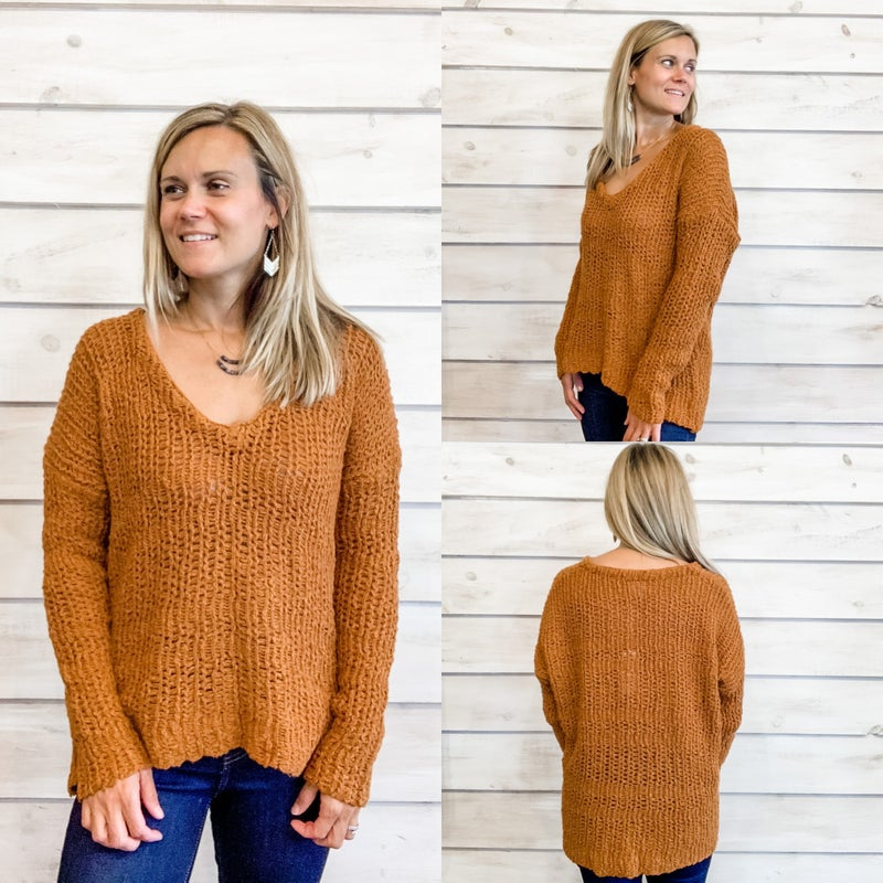 Pumpkin V Neck Sweater *Final Sale*