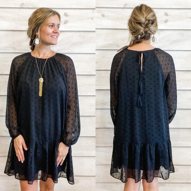 Little Black Dress with Star Swiss Dots *Final Sale*