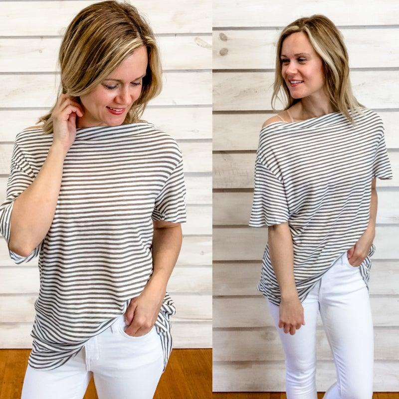 Grey Stripe Top with Fun Back
