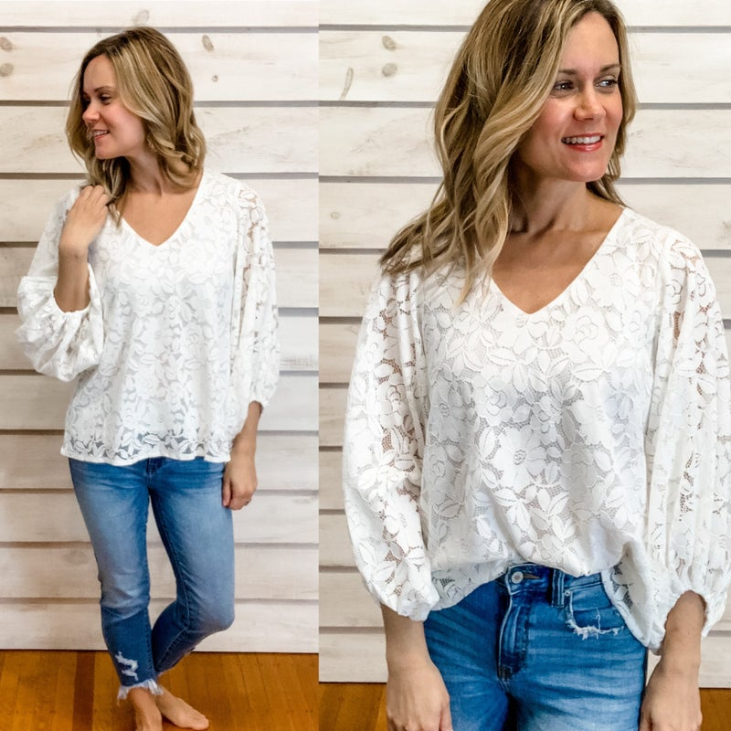 Ivory Corded Lace Top