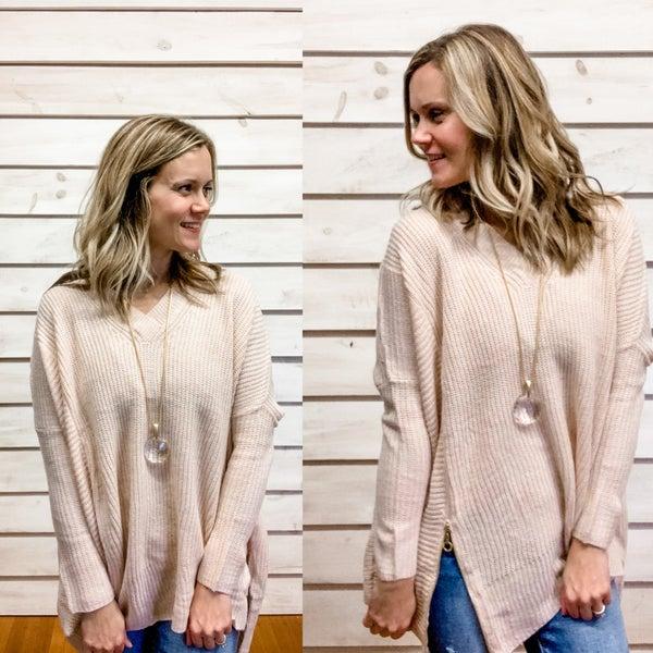 V Neck Side Zip Sweater
