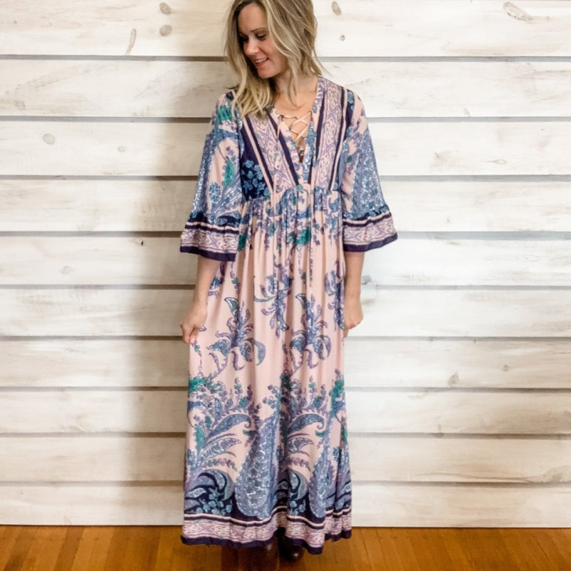 Purple Print Boho Dress