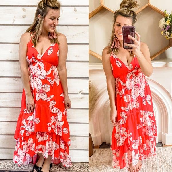 Hot Coral Hi Low Maxi Dress with Ruffles