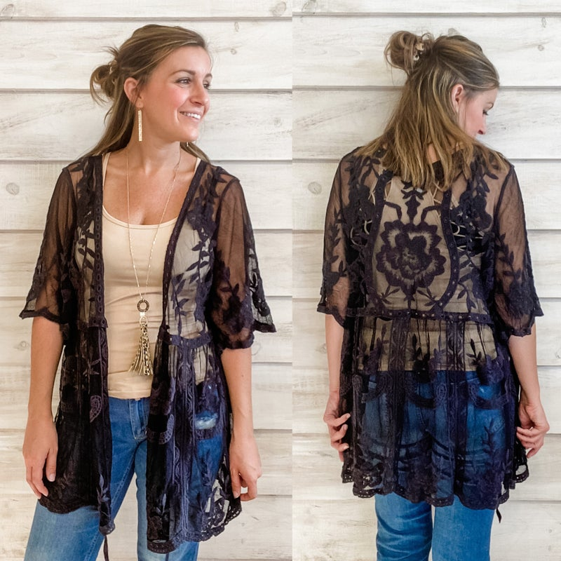 Black Lace and Crochet Kimono *Final Sale*