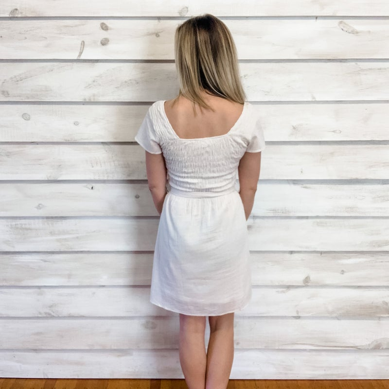 Cream Square Neck Smocked Dress