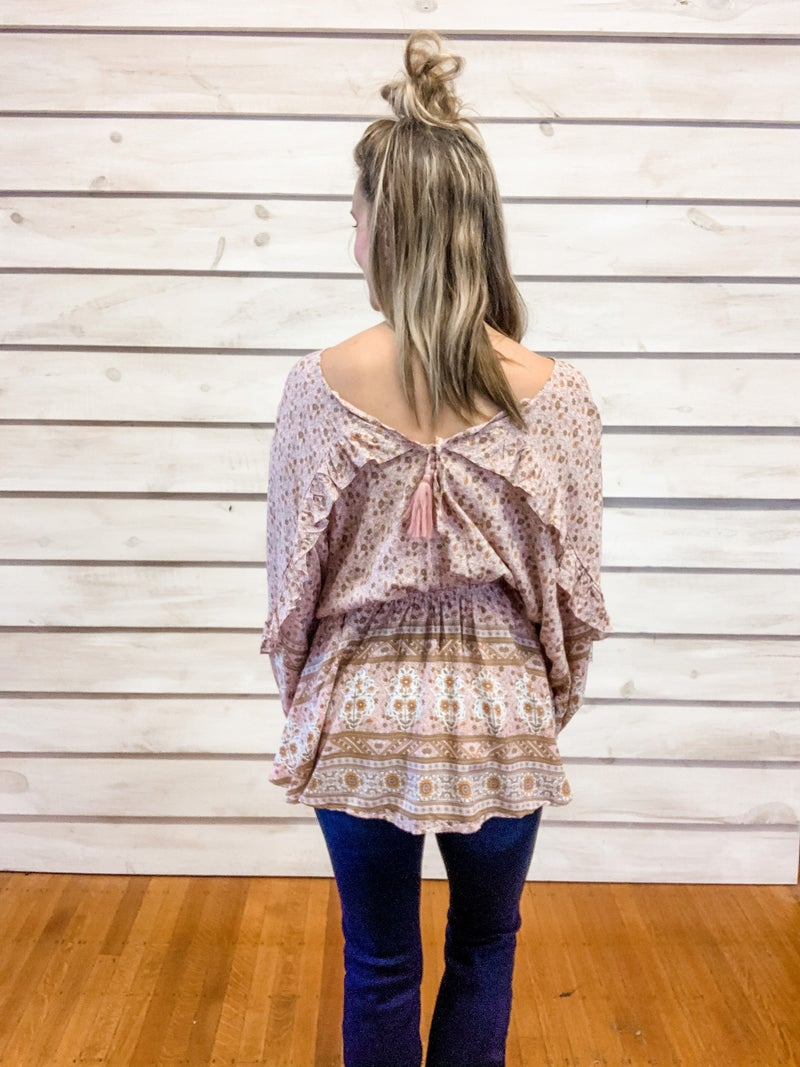 Rose Floral Boho Dolman Top