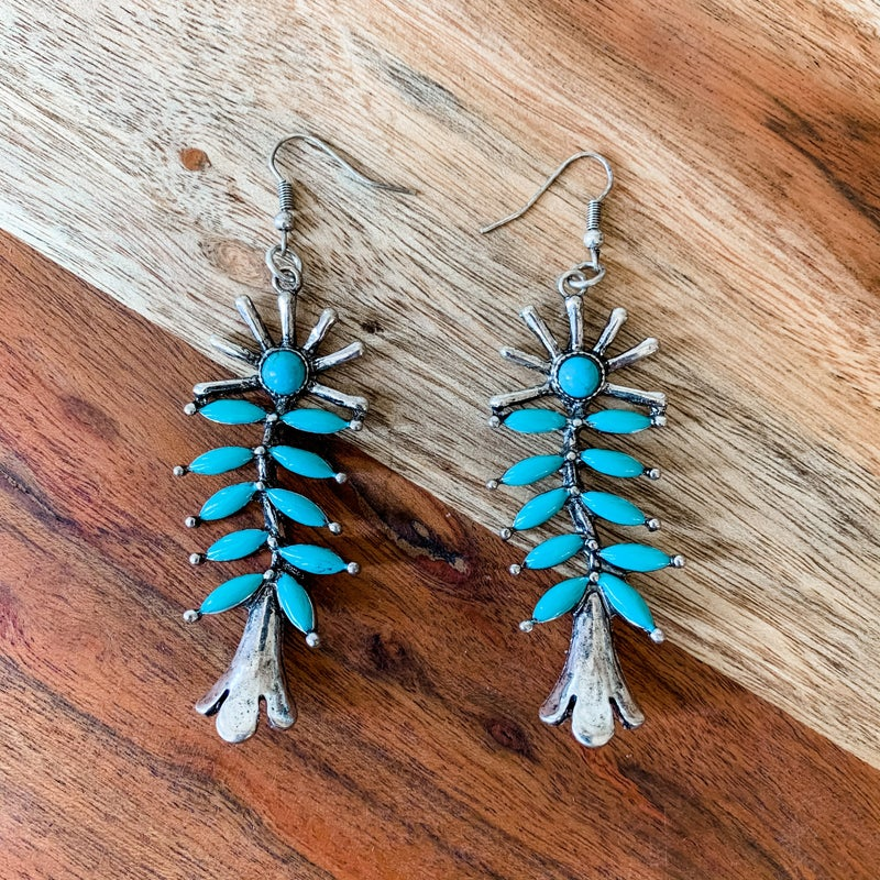 Turquoise and Silver Dangle Boho Earrings