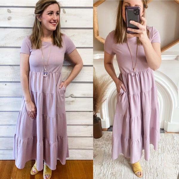 Dusty  Lilac Tiered Midi Dress
