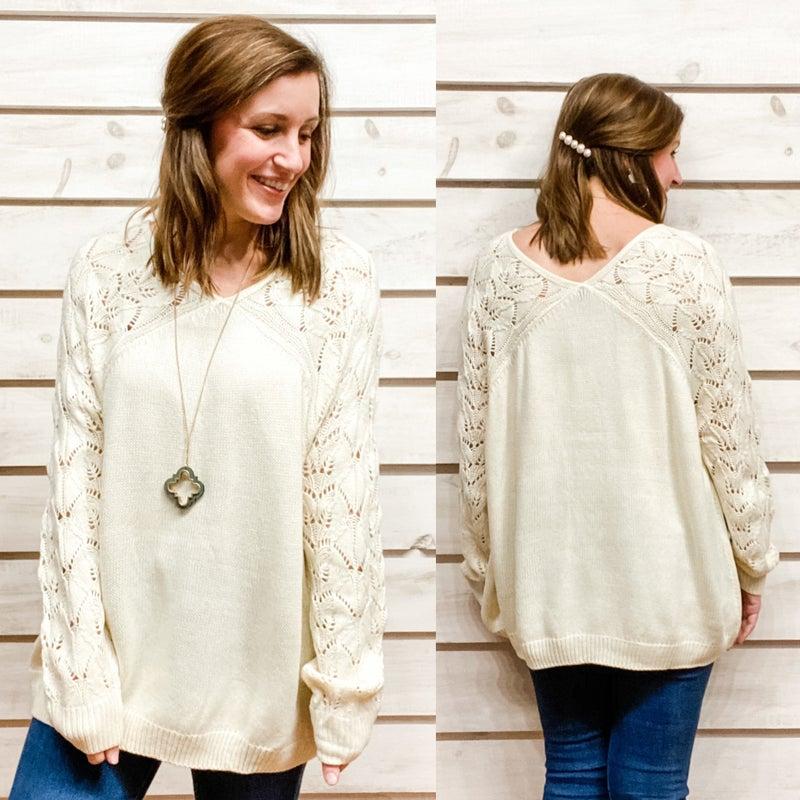 Round Neck Textured Sleeve Sweater