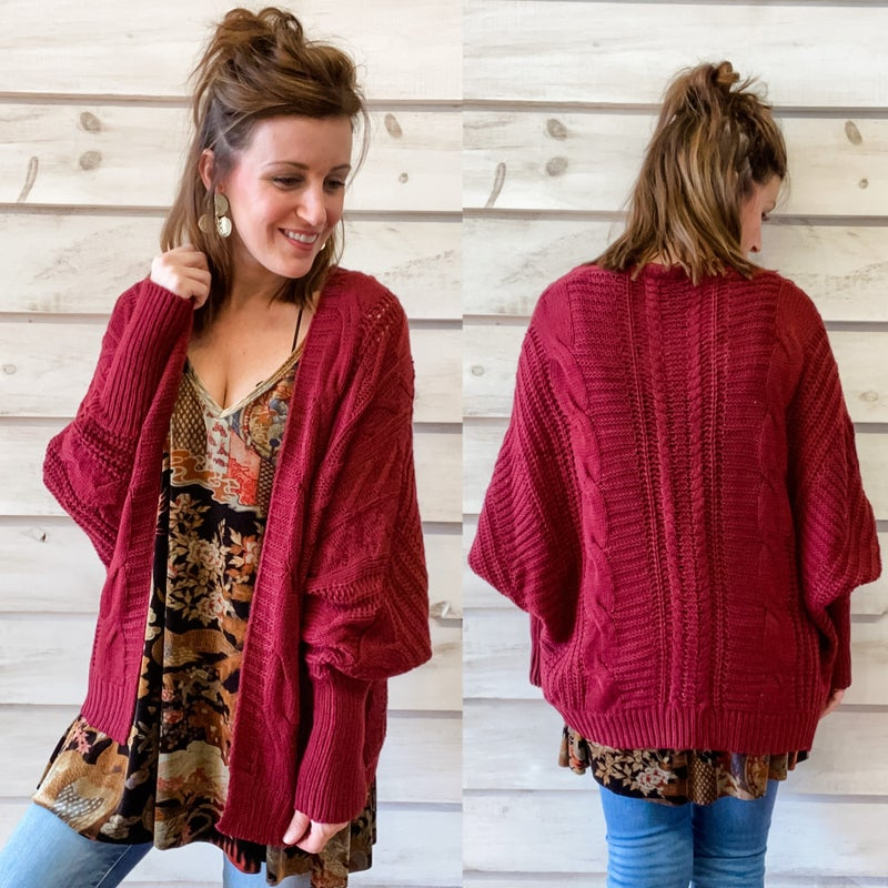 Burgundy Sweater Cardigan