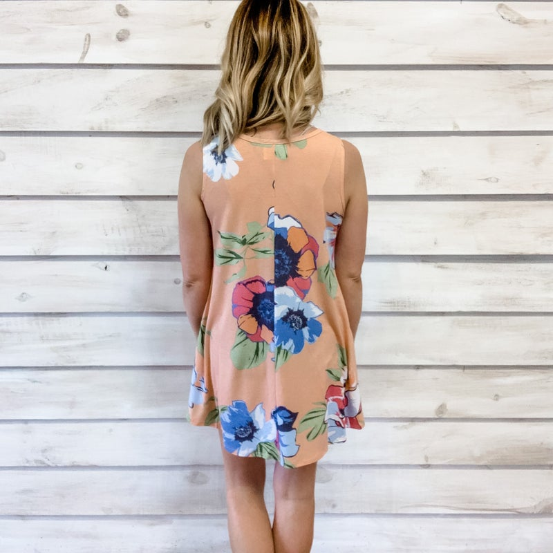 Peach Floral Swing Tunic Dress