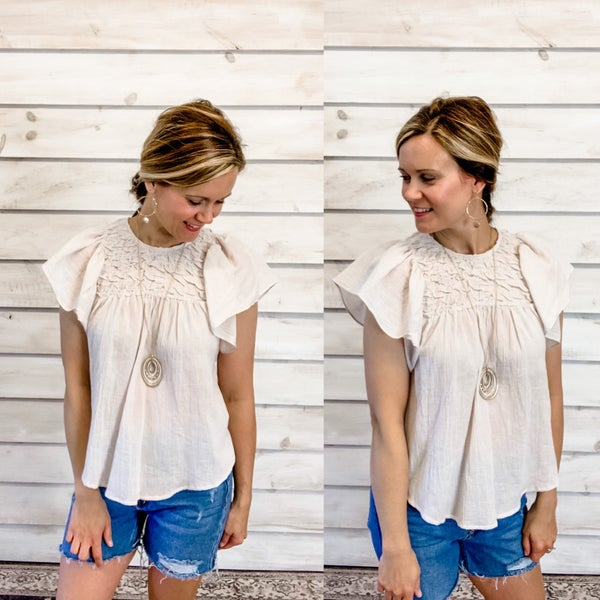 Taupe Butterfly Sleeve Smocked Top