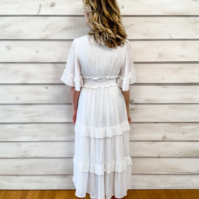 Ivory Ruffle Tiered Smocked Dress