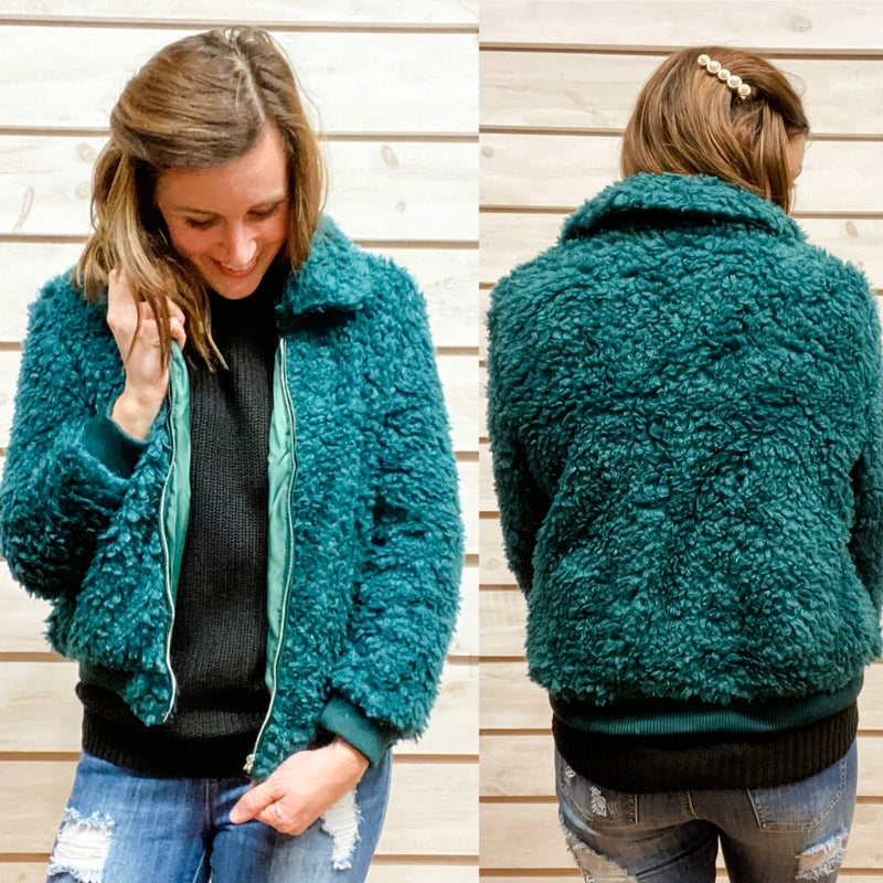 Soft and Fuzzy Green Jacket