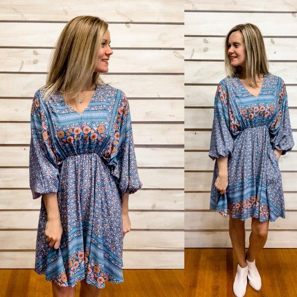 Blue Boho Floral Print Dress