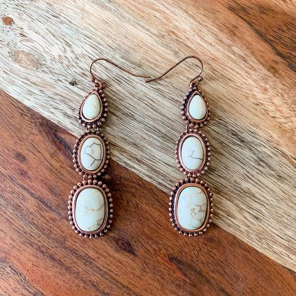 Cream Stone Boho Drop Earrings