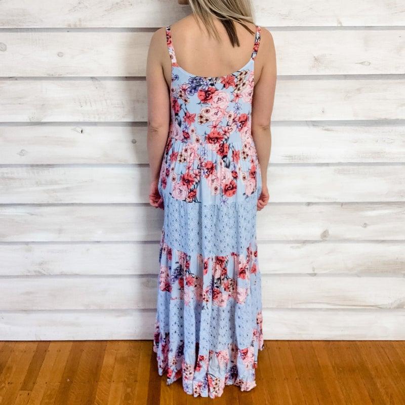 Blue Boho Floral Maxi Dress