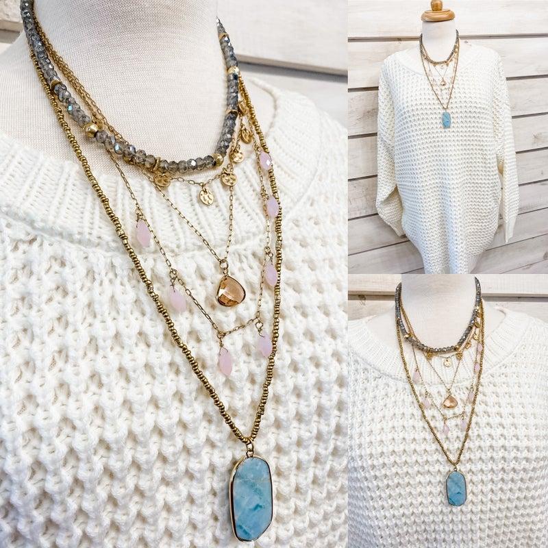 Gold Layered Beaded Aqua Stone Necklace