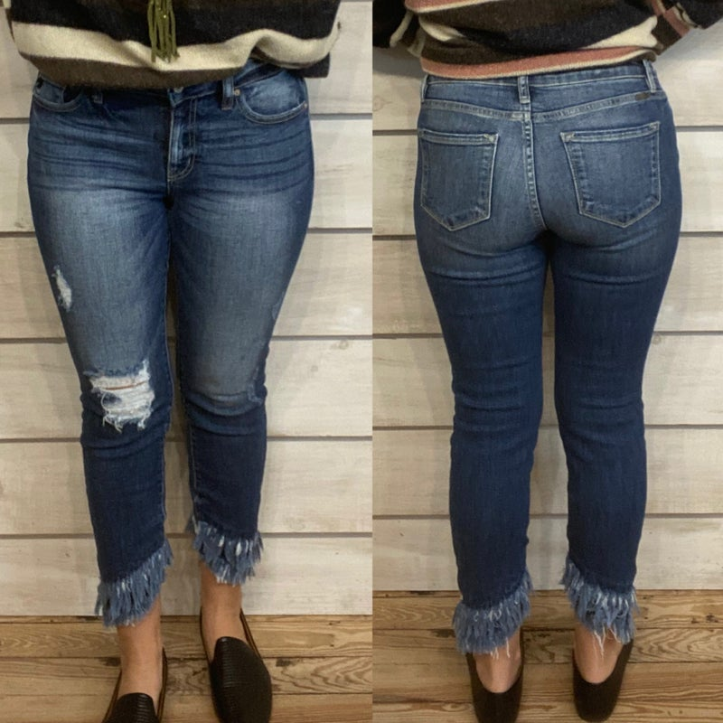 Mid Rise Distressed Skinny Jeans with Double Raw Hem