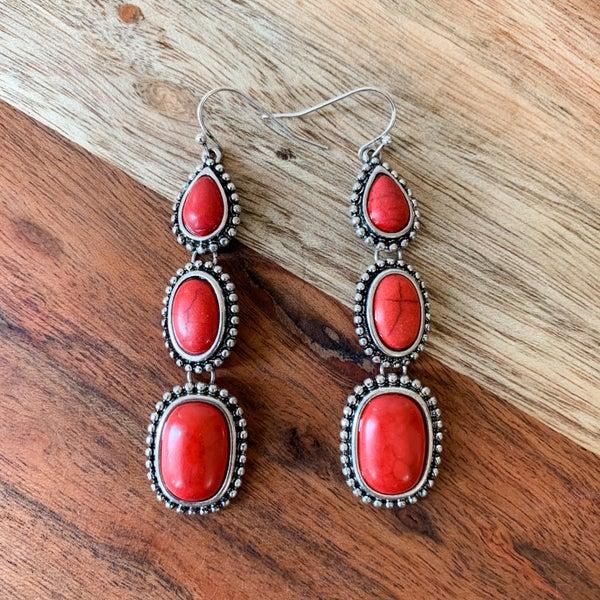 Red Boho Drop Stone Earrings