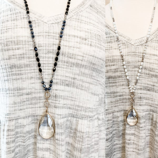 Crystal Teardrop Pendant Necklace with Glass Beads