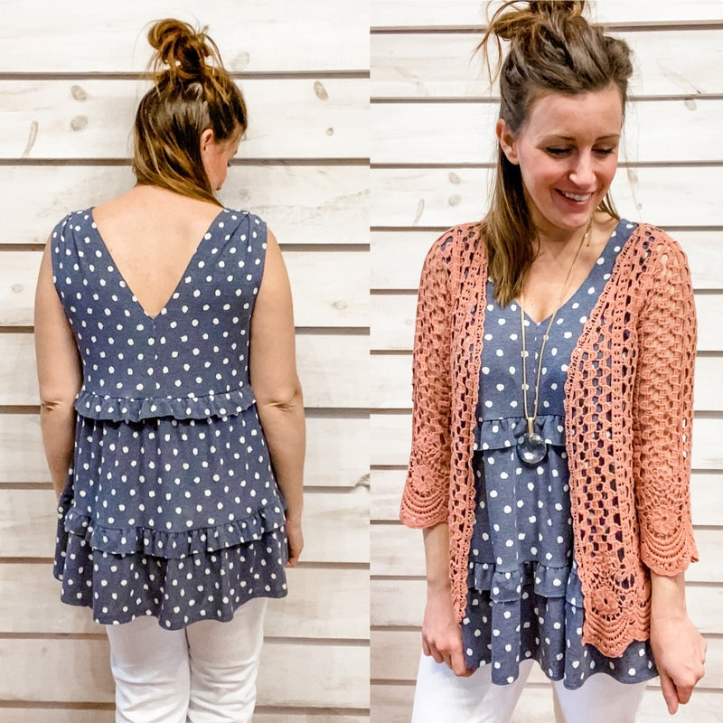 Navy and White Polka Dot Ruffle Tank