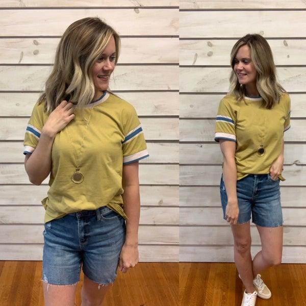 Kiwi Contrasting Stripe Top