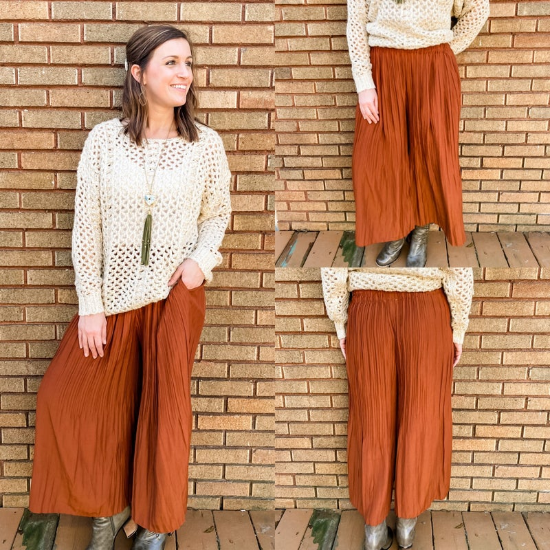 Rust Accordion Cropped Pants